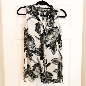 WhoWhatWear Tie Blouse with Flower Pattern